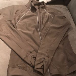 Nike Dri-Fit Army Green Brown Zip Running Jacket